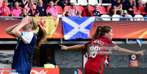Portugal's forward Carolina Mendes celebrates after scoring a goal during the UEFA Women's Euro 2017 football tournament between Scotland and...