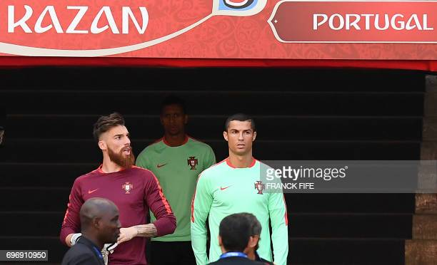 Portugal's forward Cristiano Ronaldo arrives for a training session at the Kazan Arena stadium in Kazan Russia on June 17 2017 on the eve of the...