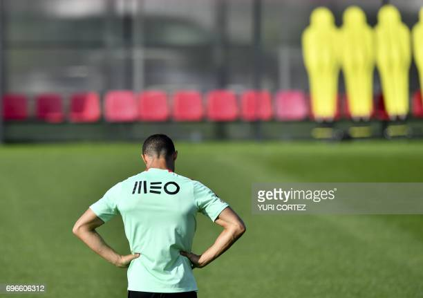 Portugal's forward Cristiano Ronaldo attends a training session ahead of the Russia 2017 Confederation Cup football tournament in Kazan Russia on...