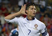 Portugal's forward Cristiano Ronaldo celebrates a goal during the UEFA Euro 2016 qualifying round Group I football match between Armenia and Portugal...