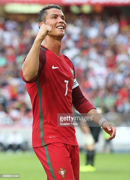 Portugal's forward Cristiano Ronaldo celebrates after scoring a goal during the International Friendly match between Portugal and Estonia at Estadio...