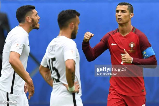 TOPSHOT Portugal's forward Cristiano Ronaldo celebrates after scoring a penalty during the 2017 Confederations Cup group A football match between New...