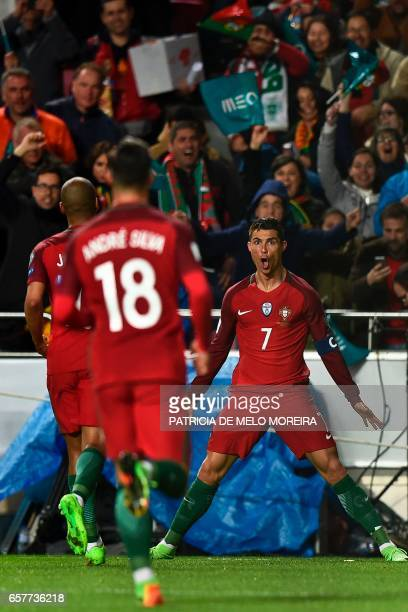 Portugal's forward Cristiano Ronaldo celebrates after scoring during the WC 2018 group B football qualifing match Portugal vs Hungary at the Luz...