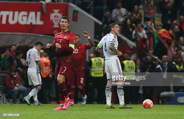 Portugal's forward Cristiano Ronaldo celebrates the victory during the UEFA EURO 2016 Qualifier match between Portugal and Denmark at Estadio...