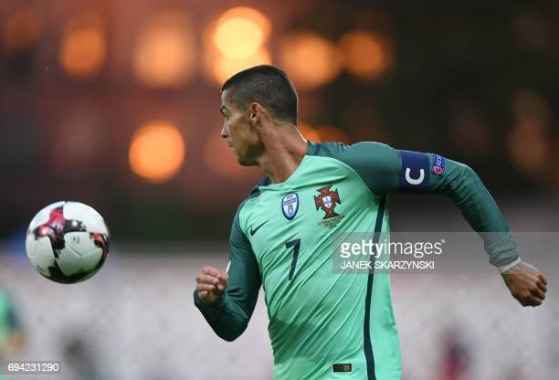 Portugal's forward Cristiano Ronaldo controls the ball during the FIFA World Cup 2018 qualification football match between Latvia and Portugal in...