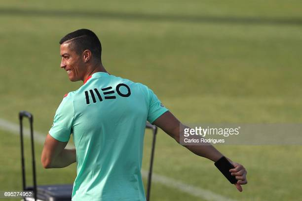 Portugal's forward Cristiano Ronaldo during Portugal Training Session and Press Conference for the Confederations Cup 2017 at Cidade do Futebol on...