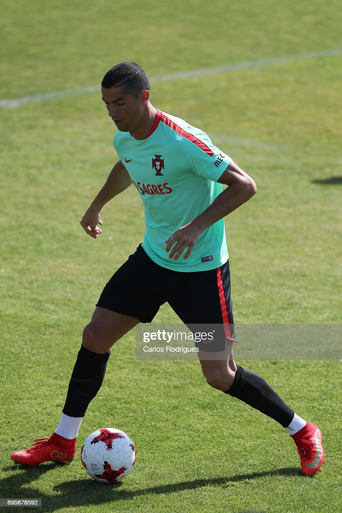 Portugal's forward Cristiano Ronaldo during Portugal Training Session and Press Conference for the Confederations Cup 2017 at Cidade do Futebol on June 14, 2017 in Lisbon, Portugal.
