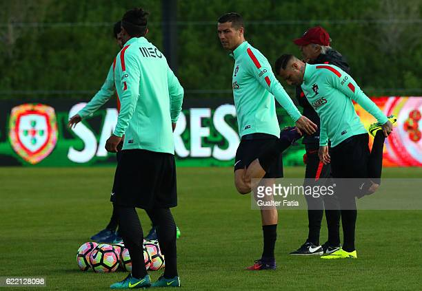 Portugal's forward Cristiano Ronaldo during Portugal's National Team Training session before the 2018 FIFA World Cup Qualifiers matches against...
