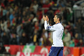 Portugal's forward Cristiano Ronaldo during the EURO 2016 qualification match between Portugal and Armenia at the Estadio do Algarve on November 14...