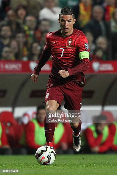 Portugal's forward Cristiano Ronaldo during the UEFA Euro 2016 Qualifier between Portugal and Serbia at Estadio da Luz on March 29 2015 in Lisbon...