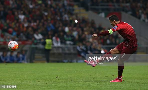 Portugal's forward Cristiano Ronaldo in action during the UEFA EURO 2016 Qualifier match between Portugal and Denmark at Estadio Municipal de Braga...