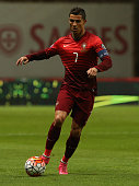 Portugal's forward Cristiano Ronaldo in action during the UEFA EURO 2016 Qualifier match between Portugal and Denmark at Estadio Municipal de Braga...
