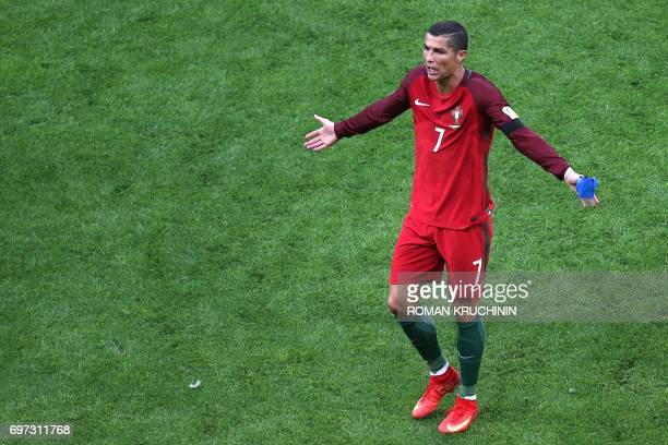 Portugal's forward Cristiano Ronaldo reacts as he leaves the pitch during the 2017 Confederations Cup group A football match between Portugal and...