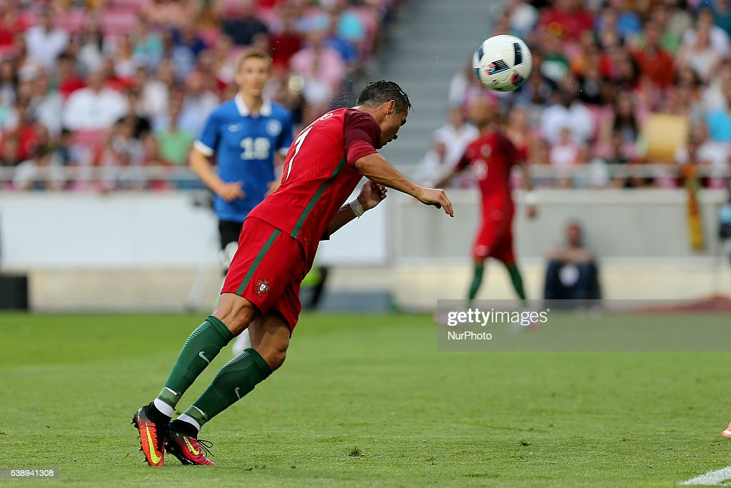 Portugals forward Cristiano Ronaldo scores goal during international friendly match between Portugal and Estonia in preparation for the Euro 2016 at...