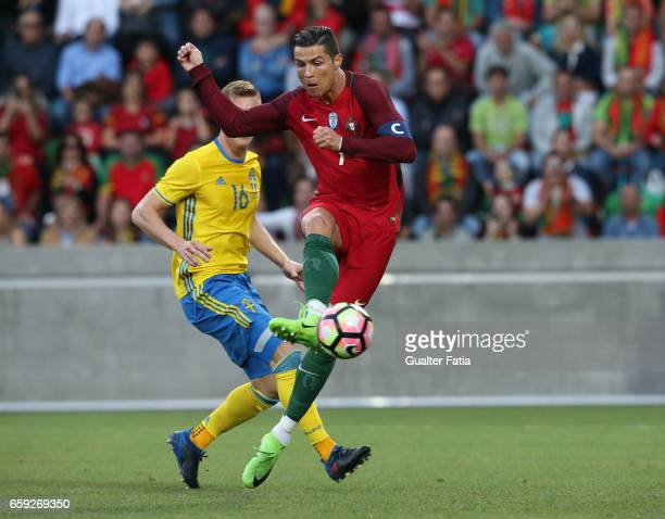 Portugal's forward Cristiano Ronaldo scores goal during the International Friendly match between Portugal and Sweden at Estadio dos Barreiros on...