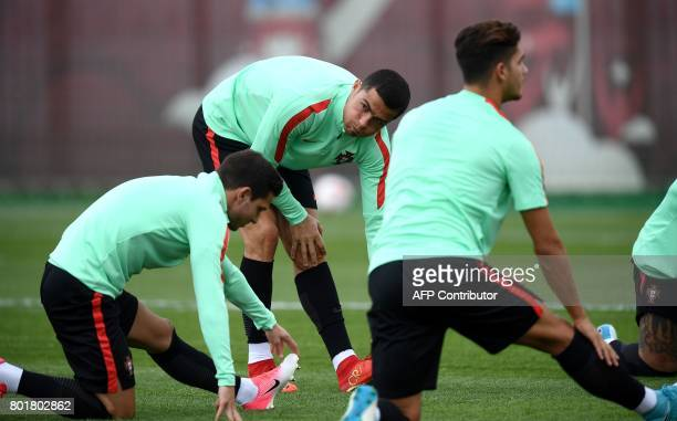 Portugal's forward Cristiano Ronaldo takes part in a training session in Kazan Russia on June 27 2017 on the eve of the Russia 2017 FIFA...