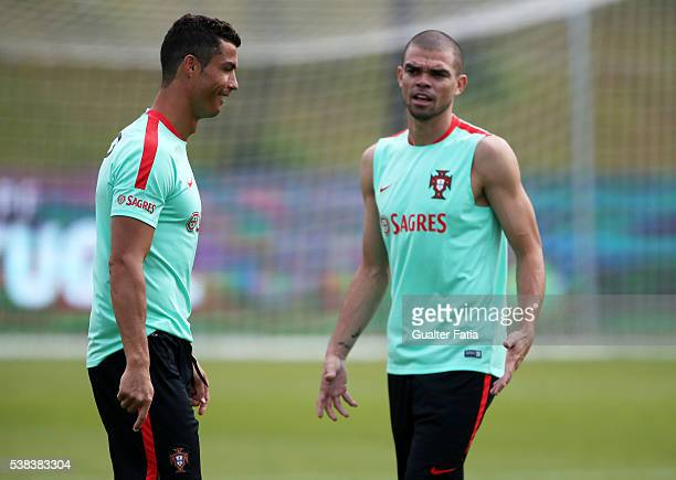 Portugal's forward Cristiano Ronaldo with Portugal's defender Pepe during a Portugal training session in preparation for Euro 2016 at FPF Cidade do...