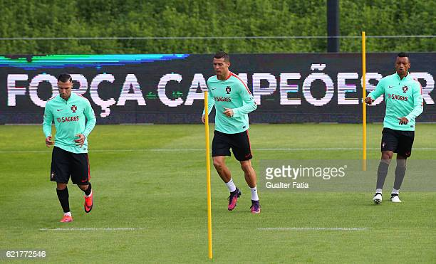 Portugal's forward Cristiano Ronaldo with Portugal's forward Ricardo Quaresma and Portugal's forward Nani during Portugal's National Team Training...