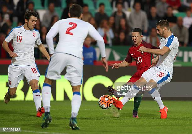 Portugal's forward Daniel Podence with Czech Republic's forward Marek Havlik in action during U21 Friendly match between Portugal and Czech Republic...