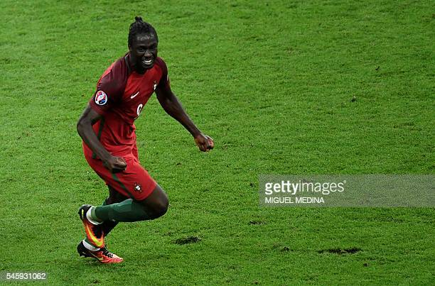 Portugal's forward Eder celebrates after scoring a goal during the Euro 2016 final football match between Portugal and France at the Stade de France...