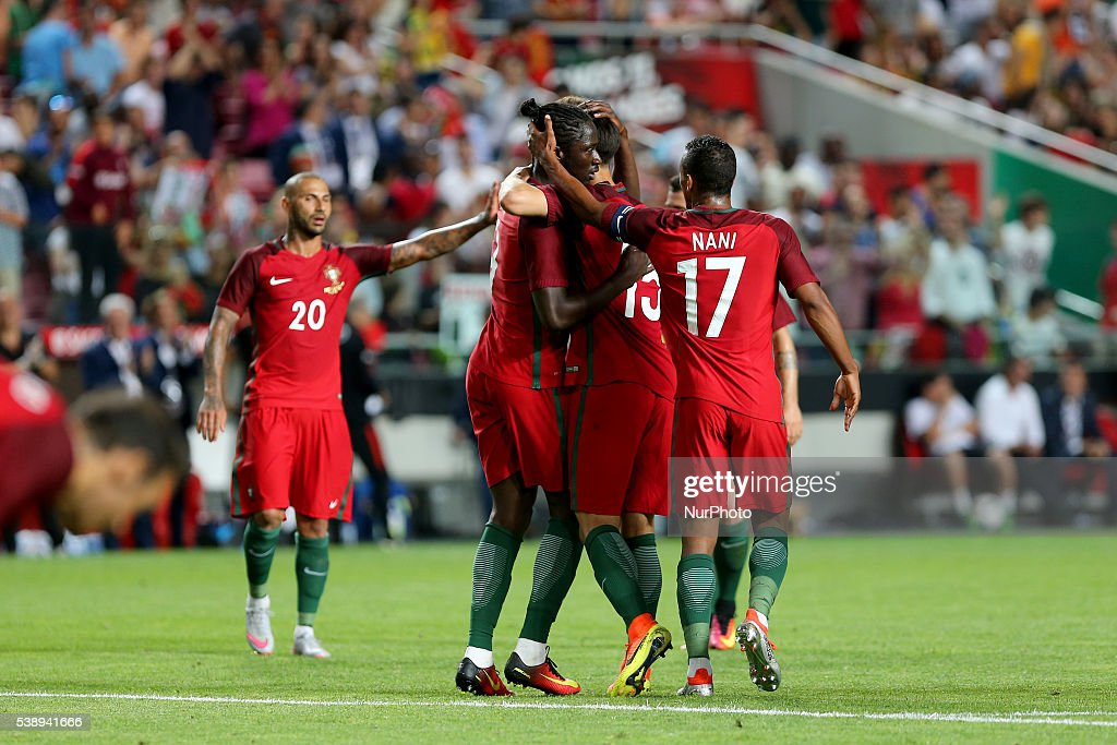 Portugals forward Eder celebrates after scoring a goal with team mates during international friendly match between Portugal and Estonia in...