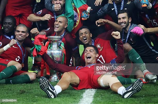 Portugal's forward Eder Portugal's defender Pepe Portugal's forward Ricardo Quaresma Portugal's forward Nani Portugal's forward Cristiano Ronaldo and...