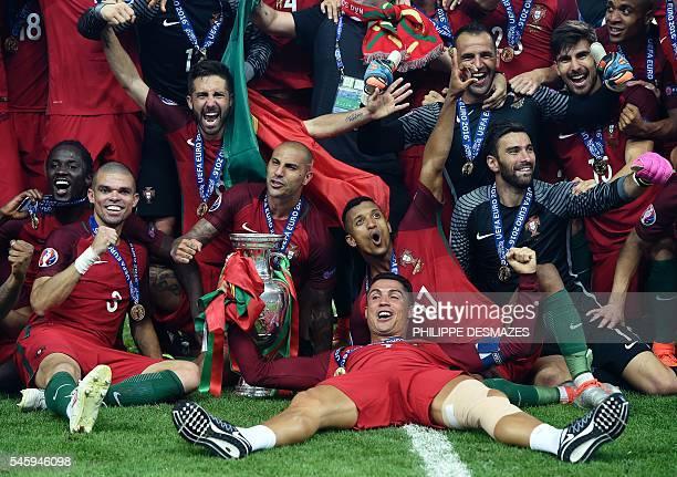 Portugal's forward Eder Portugal's defender Pepe Portugal's midfielder Joao Moutinho Portugal's forward Ricardo Quaresma Portugal's forward Nani...