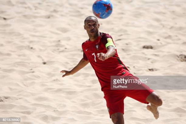 Portugal's forward Madjer in action during the Beach Soccer Mundialito 2017 match between Portugal and Brazil at the Carcavelos beach in Cascais...