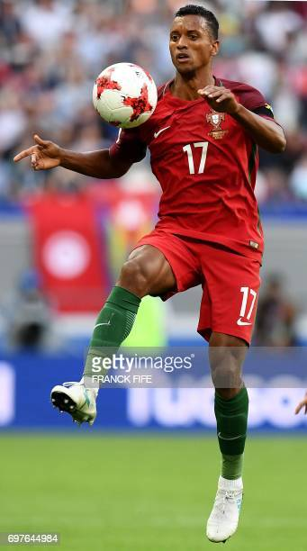 Portugal's forward Nani controls the ball during the 2017 Confederations Cup group A football match between Portugal and Mexico at the Kazan Arena in...