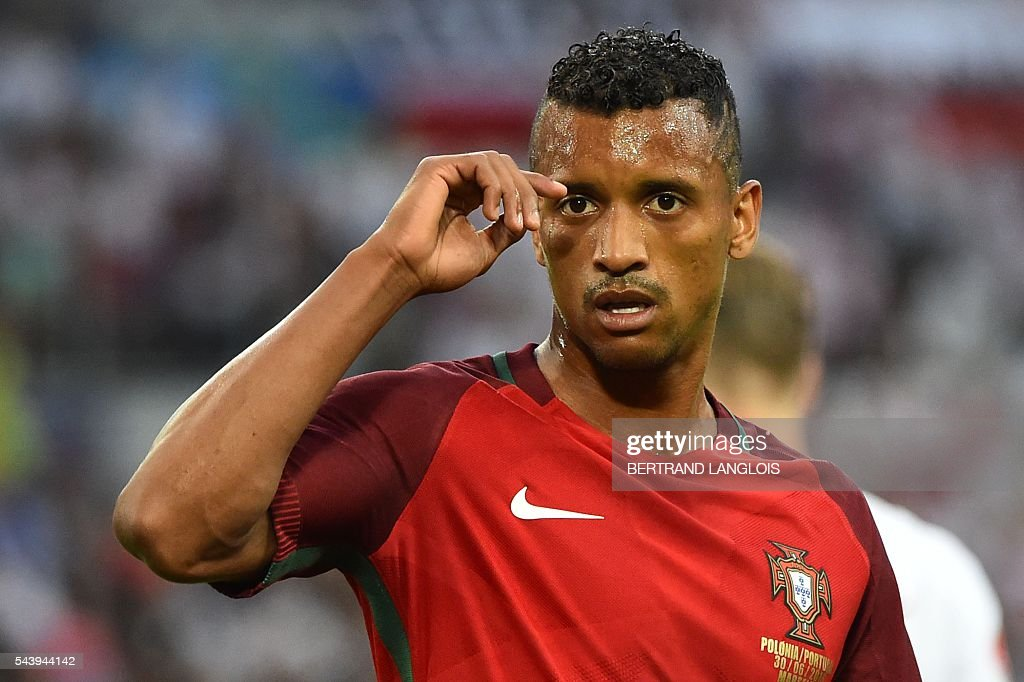 Portugal's forward Nani reacts during the Euro 2016 quarter-final football match between Poland and Portugal at the Stade Velodrome in Marseille on June 30, 2016. / AFP / BERTRAND