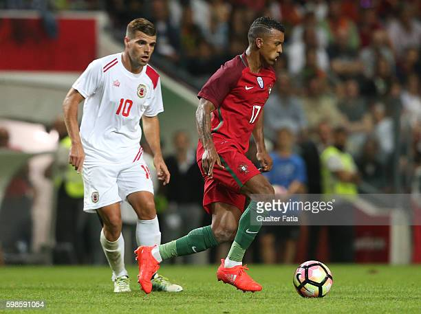 Portugal's forward Nani with Gibraltar«s midfielder Liam Walker in action during the International Friendly match between Portugal and Gibraltar at...