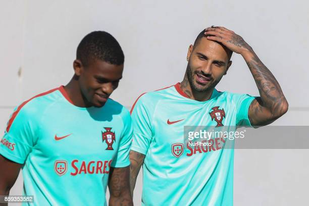 Portugals forward Ricardo Quaresma and Nelson Semedo during National Team Training session before the match between Portugal and Switzerland at City...