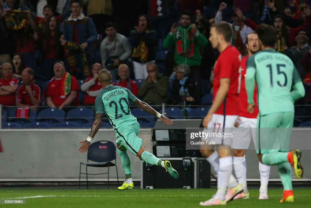 Portugal's forward Ricardo Quaresma celebrates after scoring a goal during the International Friendly match between Portugal and Norway at Estadio do Dragao on May 29, 2016 in Porto, Portugal.