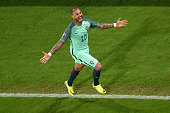 TOPSHOT Portugal's forward Ricardo Quaresma celebrates after scoring a goal during the extratime in the Euro 2016 round of sixteen football match...