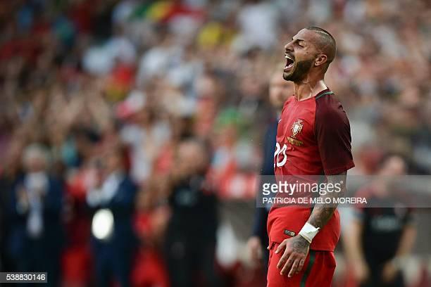 Portugal's forward Ricardo Quaresma celebrates after scoring against Estonia during the friendly football match Portugal vs Estonia at Luz stadium in...