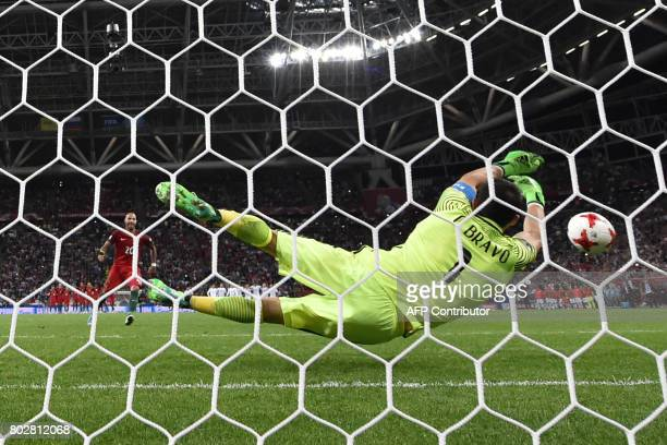 TOPSHOT Portugal's forward Ricardo Quaresma misses a goal in a penalty shoot out against Portugal during the 2017 Confederations Cup semifinal...