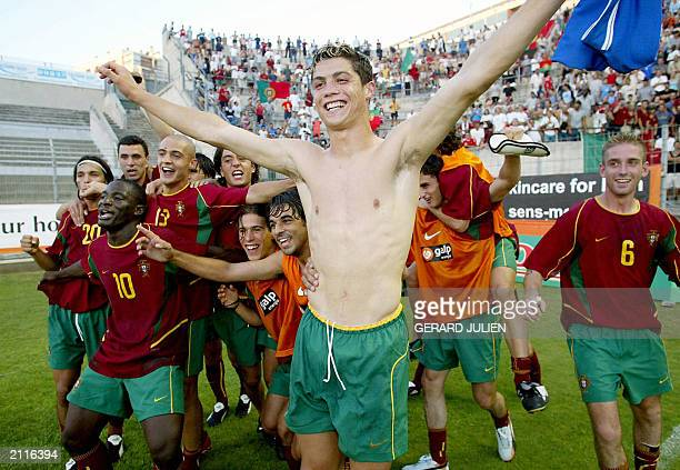 Portugal's forward Ronaldo Cristiano jubilates with his teammates after they won the final match of the International Under21 soccer tournament...