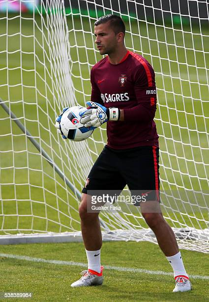 Portugal's goalkeeper Anthony Lopes in action during a Portugal training session in preparation for the Euro 2016 at FPF Cidade do Futebol on June 6...