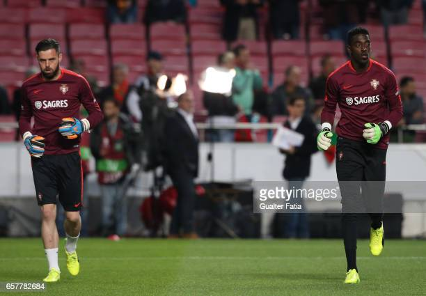 Portugal's goalkeeper Bruno Varela with Portugal's goalkeeper Marafona in action during warm up before the start of the FIFA 2018 World Cup Qualifier...