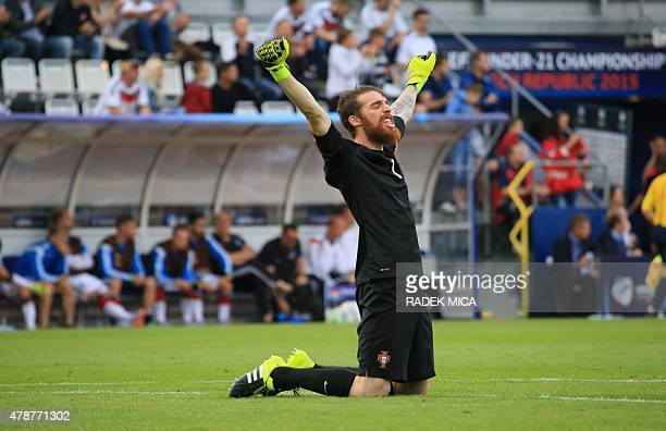 Portugal's goalkeeper Jose Sa celebrates his team's victory in the UEFA Under 21 European Championship 2015 semi final football match between...
