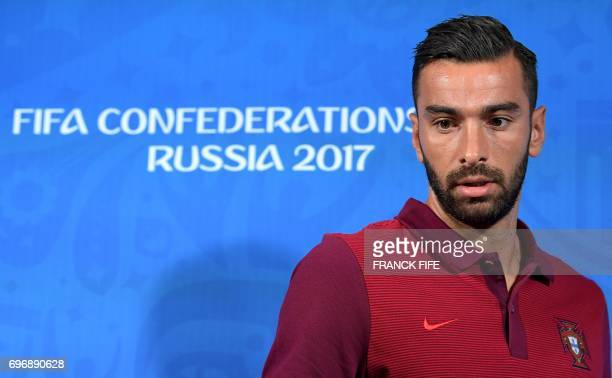 Portugal's goalkeeper Rui Patricio arrives for a press conference at the Kazan Arena stadium in Kazan Russia on June 17 2017 on the eve of the Russia...