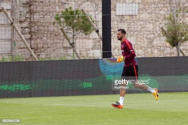 Portugal's goalkeeper Rui Patricio in action during a training session at quotCidade do Futebolquot training camp in Oeiras outskirts of Lisbon on...