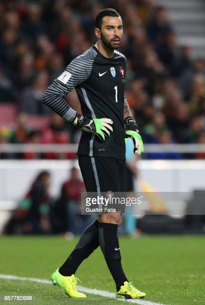 Portugal's goalkeeper Rui Patricio in action during the FIFA 2018 World Cup Qualifier match between Portugal and Hungary at Estadio da Luz on March...