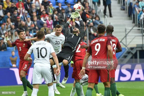 Portugal's goalkeeper Rui Patricio saves the ball during the 2017 Confederations Cup group A football match between New Zealand and Portugal at the...