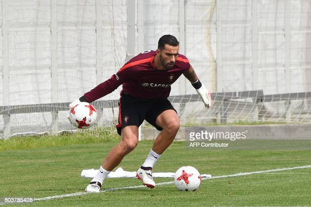 Portugal's goalkeeper Rui Patricio takes part in a training session in Moscow on June 30 2017 ahead of the 2017 FIFA Confederations Cup third place...