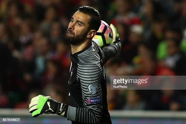 Portugal's goalkeeper Rui Patricio throws the ball during the football match between Portugal and Hungary at Luz Stadium in Lisbon on March 25 2017