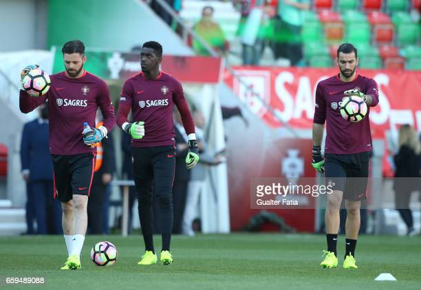 PortugalÕs goalkeeper Rui Patricio with PortugalÕs goalkeeper Bruno Varela with PortugalÕs goalkeeper Marafona during warm up before the start of the...