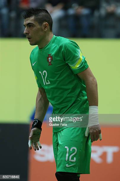 Portugal's goalkeeper Vitor Hugo in action during the FIFA Futsal playoff match between Portugal and Serbia at Pavilhao Multiusos de Odivelas on...