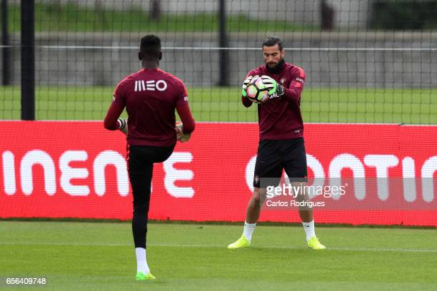 Portugal's goalkeepers Bruno Varela and Rui Patricio during a Portugal training session at Cidade do Futebol on March 22 2017 in Lisbon Portugal
