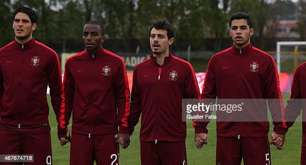 Portugal's Goncalo Paciencia Ricardo Pereira Bernardo Silva and Rafa Soares before the U21 International Friendly between Portugal and Denmark on...